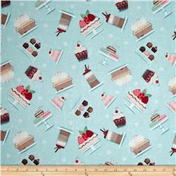 Sugary Sweet Tossed Sweets Light Blue Fabric