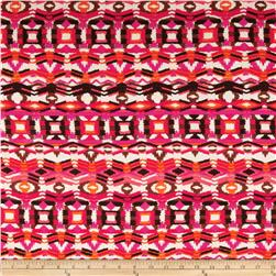 Stretch Rayon Jersey Knit Aztec Print Fuchsia/Orange/Brown