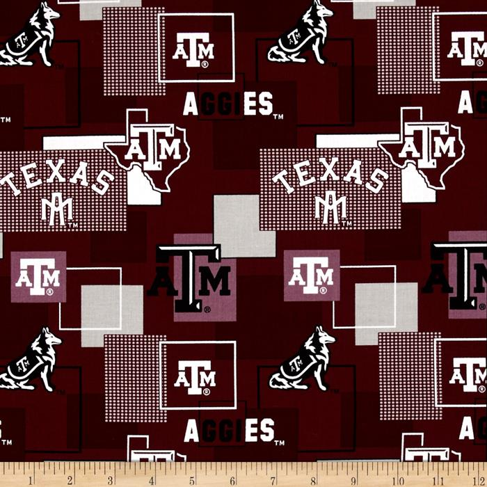Collegiate Cotton Broadcloth Texas A&M University Block Print