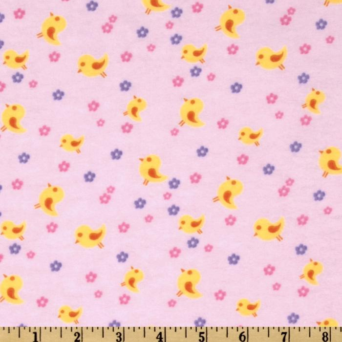 Day in the Park Flannel Florals & Birds Pink
