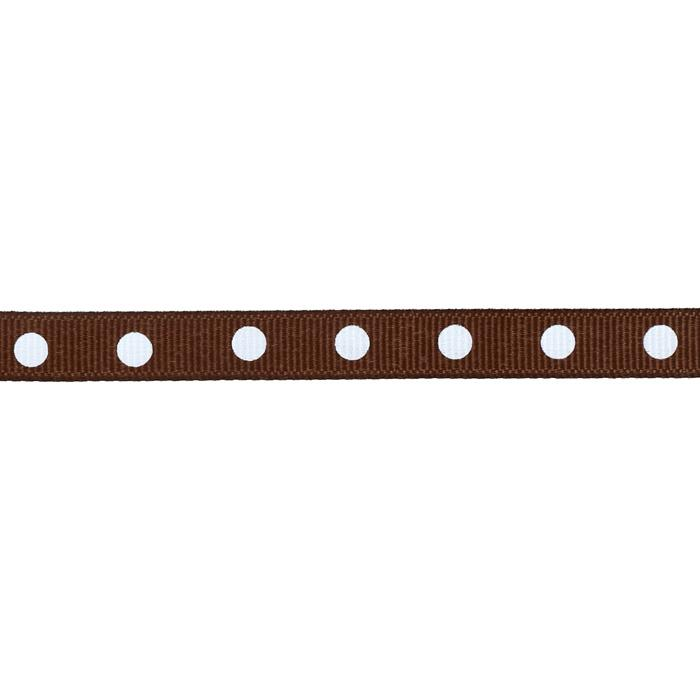 "3/8"" Grosgrain Ribbon Dot White/Brown"