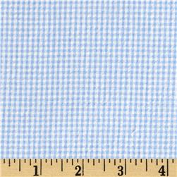 Cotton Seersucker Check Blue/White