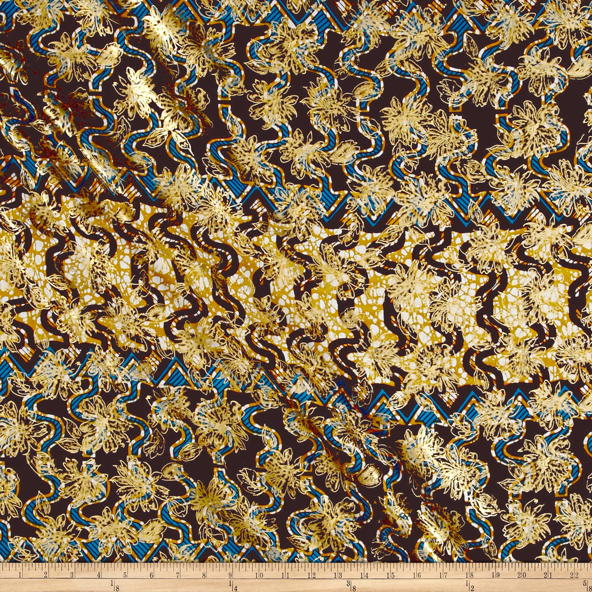 Supreme Osikani African Print Broadcloth 6 Yard Metallic Blue Arrow
