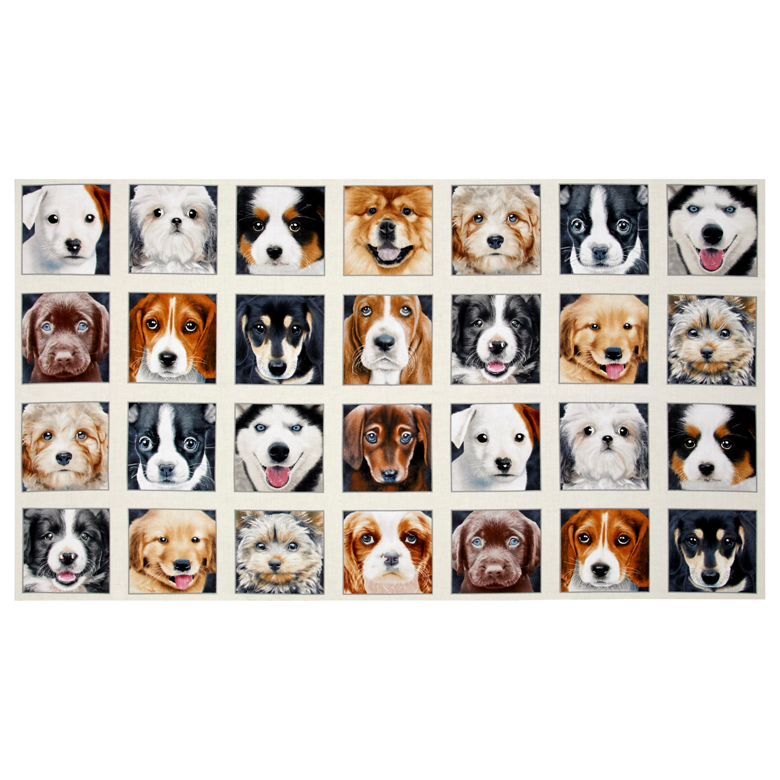 Adorable Pets Dogs 23 inch' Panel Cream Fabric