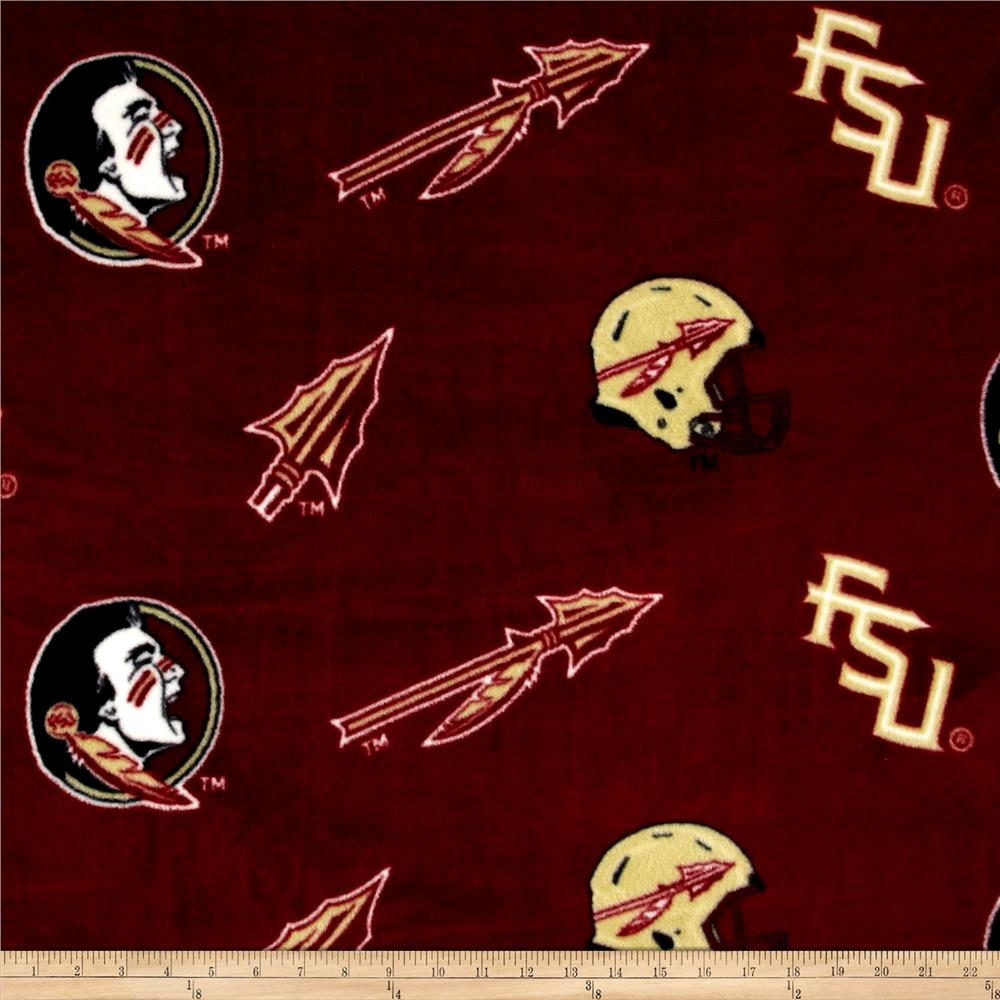 Collegiate Fleece Florida State University Tossed Red/Black Fabric By The Yard