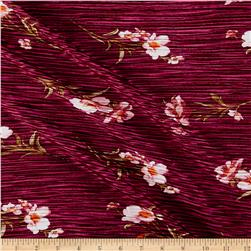 Crinkle Tricot Knit Floral Wine/White