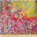 Indian Batik Embroidery Floral Pink/Yellow