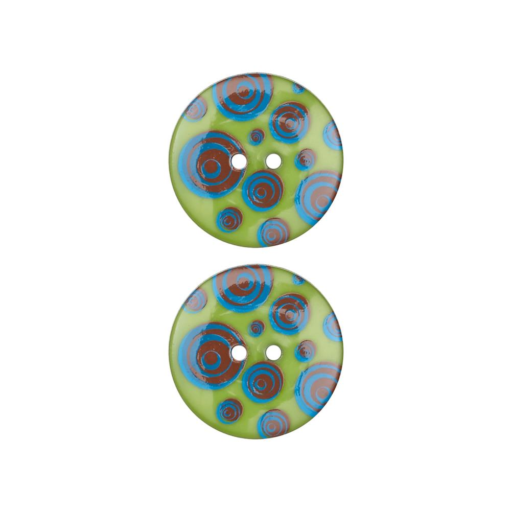 Dill Novelty Button 1'' Swirl Dots Lime