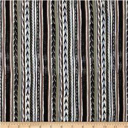Designer Rayon Crepe Stripes Black/Brown/Grey