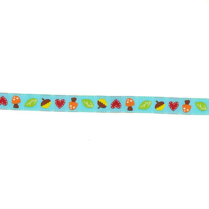 "5/8"" Dena Designs Mushrooms & Acorns Ribbon Turquoise"