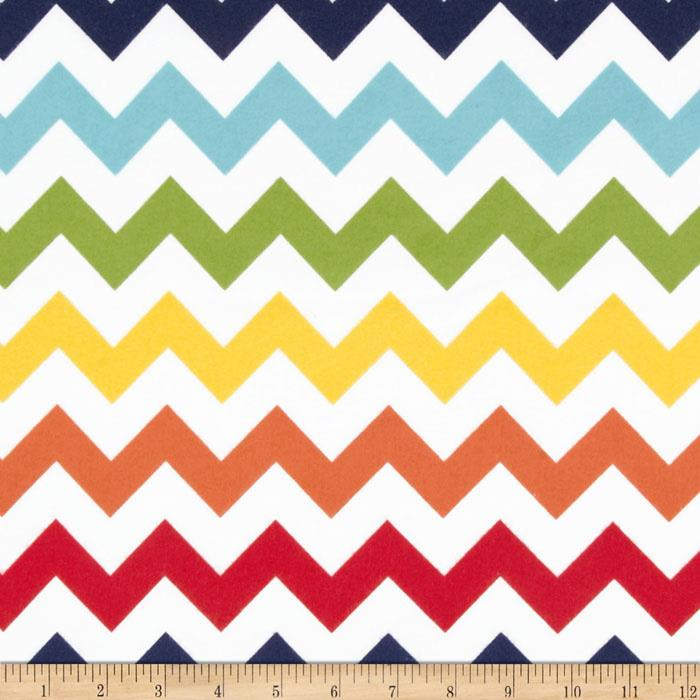Riley Blake Flannel Basics Chevron Medium Rainbow Orange/Red