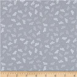 Butterfly Kisses Flannel Tossed Leaf Grey
