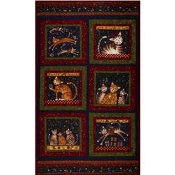 Purrfect Christmas Flannel Panel Red/Green