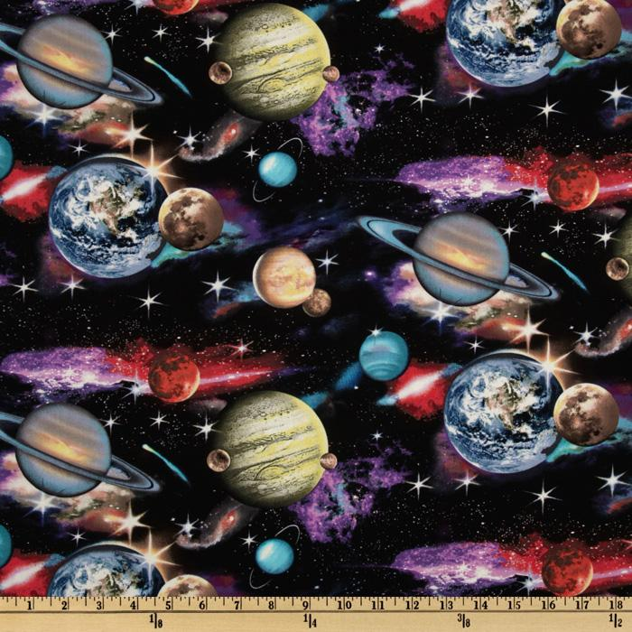 In space planets black discount designer fabric for Space fabric by the yard