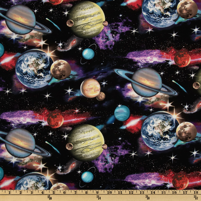 In Space Planets Black Fabric