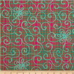 Embroidered Madras Plaid Green/Aqua/Red Fabric