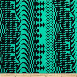 Stretch ITY Jersey Knit Aztec Green/Black
