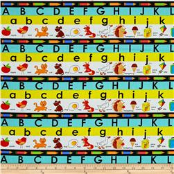 School Rules! Alphabet Stripe Light Blue