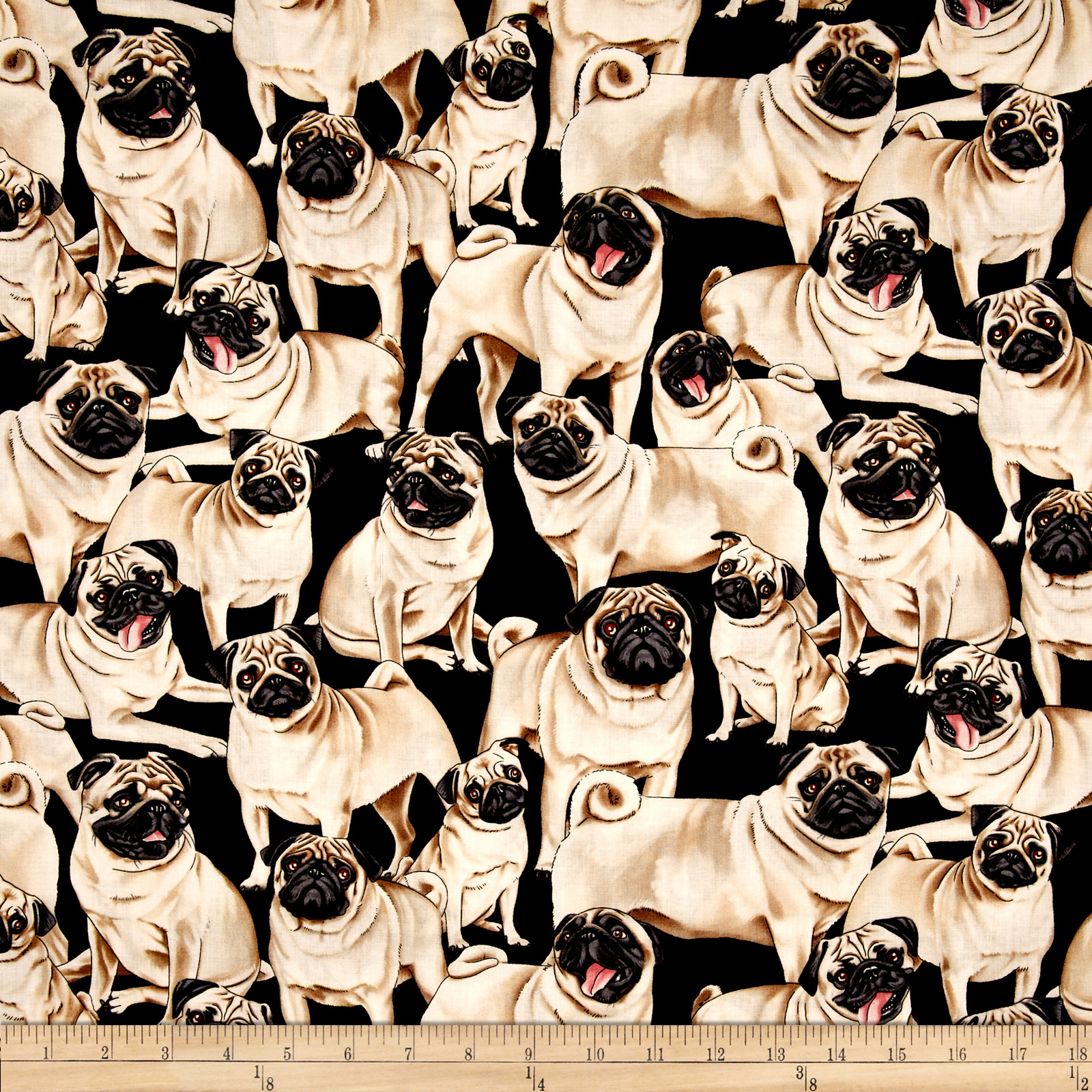 Timeless Treasures Pugs Black