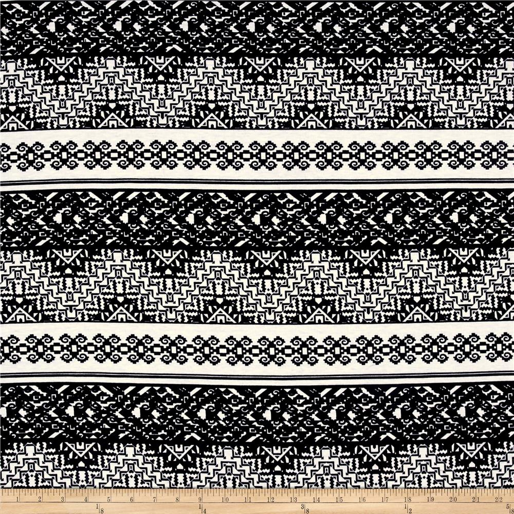 Rihan Jersey Knit Tribal Chevron/Damask Black/White Fabric