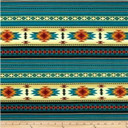 Tucson Flannel Stripe Turquoise Fabric