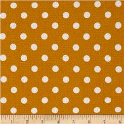 Bubble Crepe Medium Polka Dots Mustard/White
