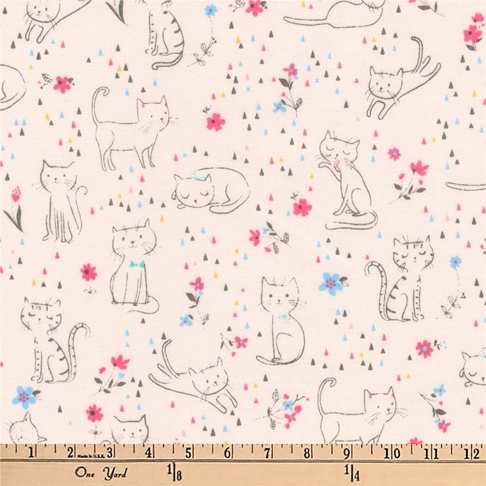 Kaufman Whiskers and Tails Kittie Fun Pink