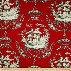 Richloom Sweet William Toile Twill Lacquer Red