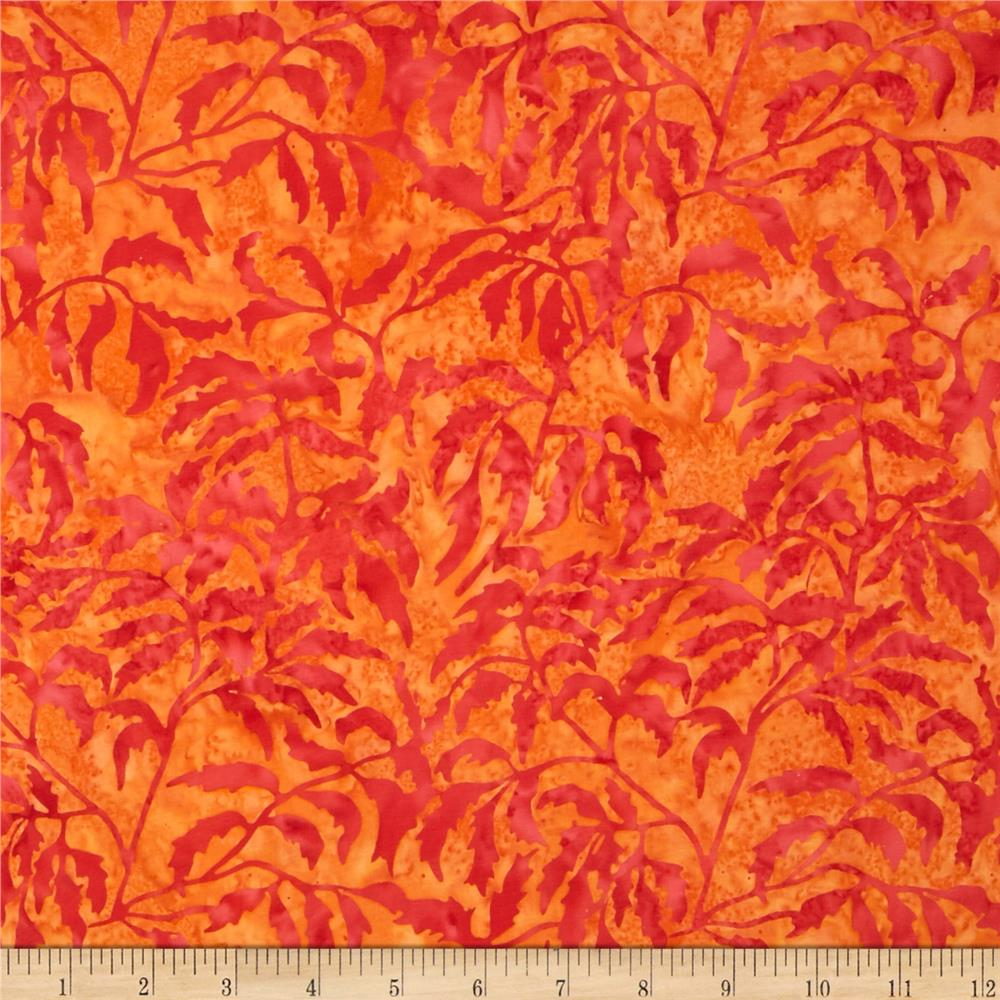 Island Batik Daisy Leaves Brt. Orange