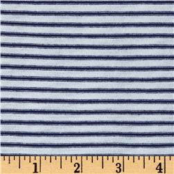Designer Jersey Knit Stripe Mini Stripe Navy/White