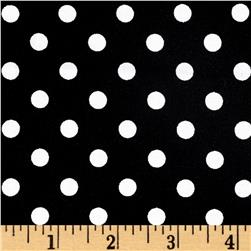 Rayon Challis Small Dots Black and White