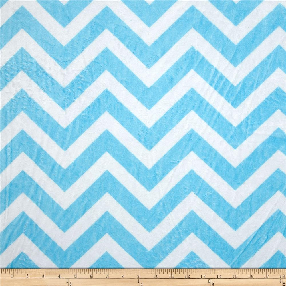 Shannon Minky Cuddle Chevron Turquoise/Snow
