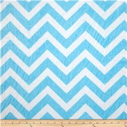 Minky Cuddle Chevron Turquoise/Snow Fabric