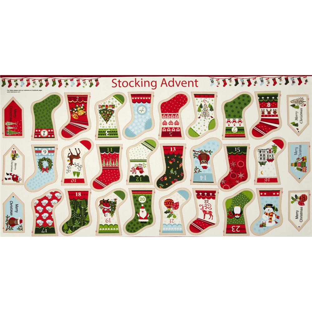 Christmas Metallic Stocking Advent Panel