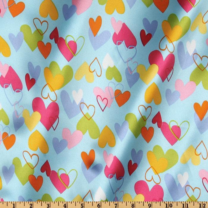Robert Kaufman Silky Satin Heart to Heart Blue/Pink