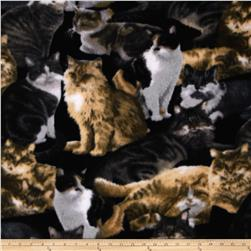 Animal Love Fleece Allover Cats Black/Multi Fabric