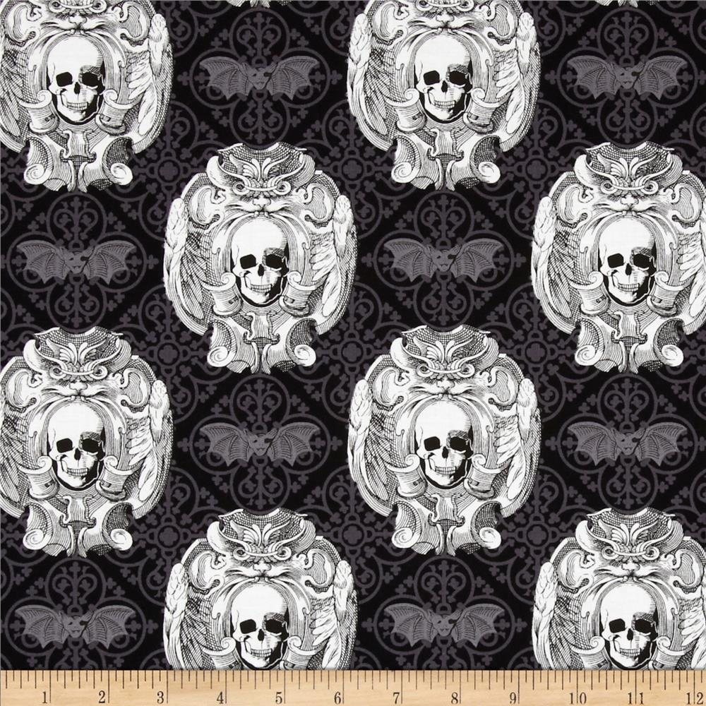 Michael Miller Freak Out Gothic Skulls Grey