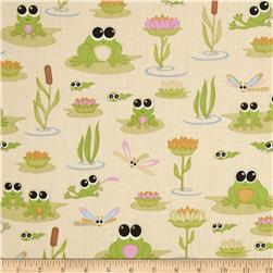 Kitschy Kawaii Frogs Cream Fabric