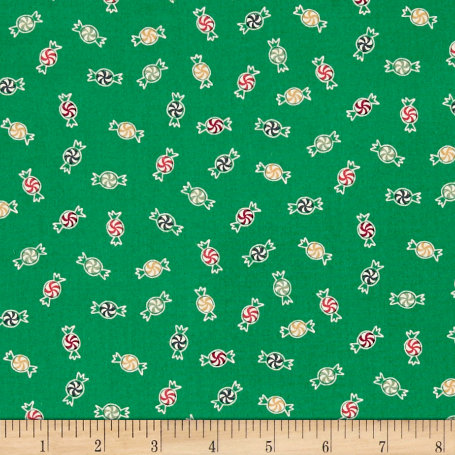 25 Days of Christmas Tossed Dark Green Fabric By The Yard