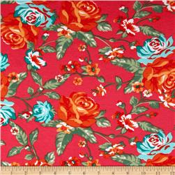 Stretch Ponte de Roma Knit Florals Red-Orange/Green