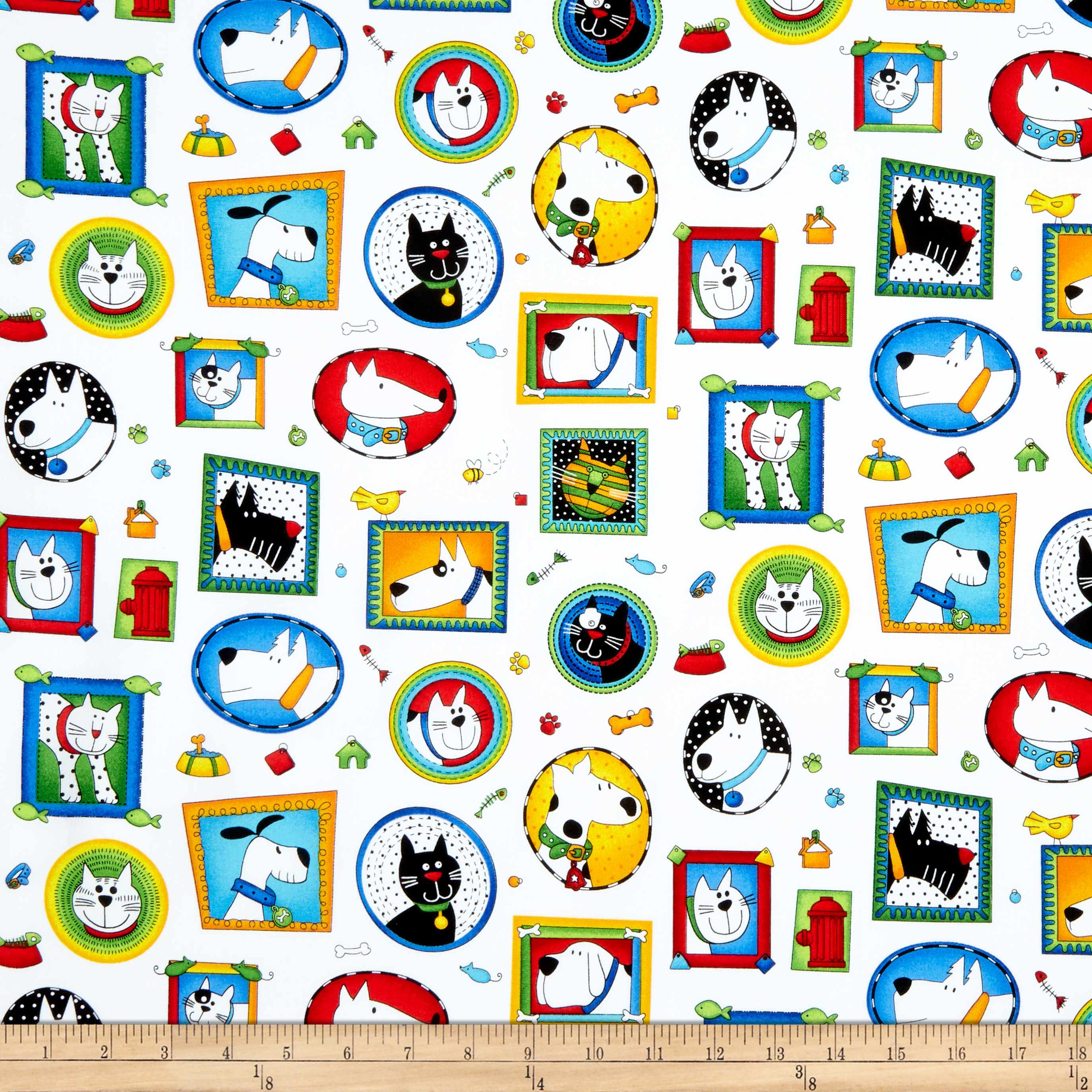 Epic Woof N' Whiskers Framed Pets White Fabric