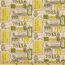 Premier Prints Air Mail Clover/Natural Fabric