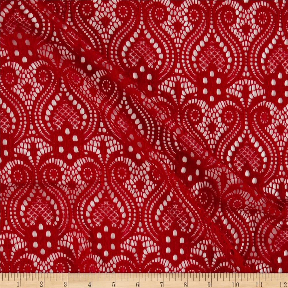 Red stretch lace for Apparel fabric