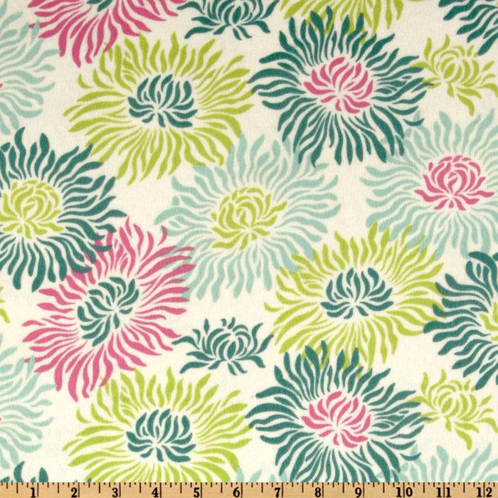 Heather Bailey Freshcut Flannel Graphic Mums Turquoise