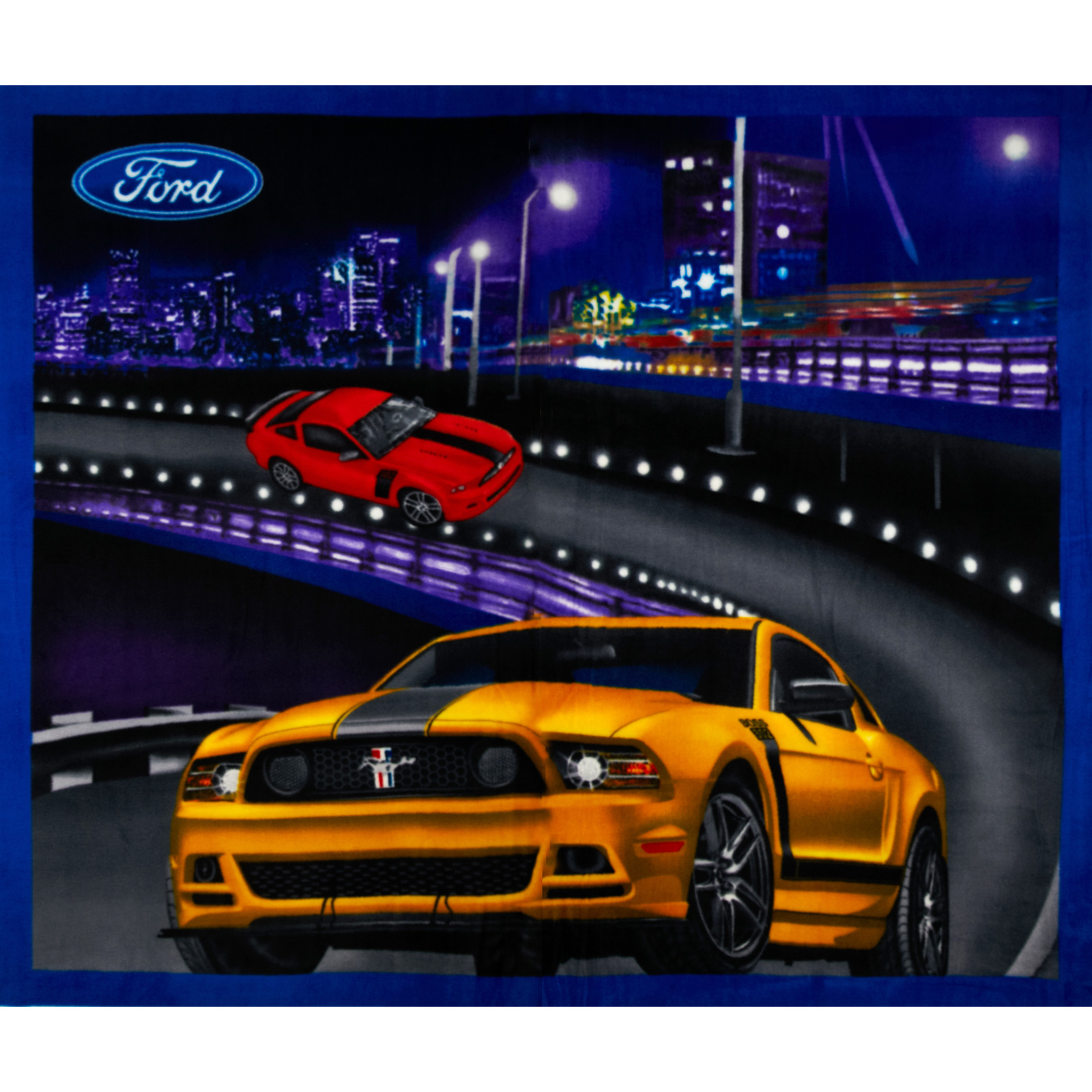 ford mustang collection fleece ford on the road mustang discount designer fabric. Black Bedroom Furniture Sets. Home Design Ideas
