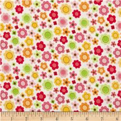 Riley Blake Ladybug Garden Flannel Tossed Flowers White