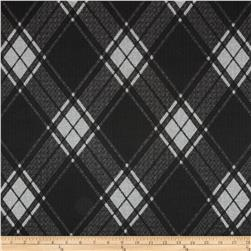 Sydney Stretch Crepe Knit Diamond Plaid Black/Grey Fabric
