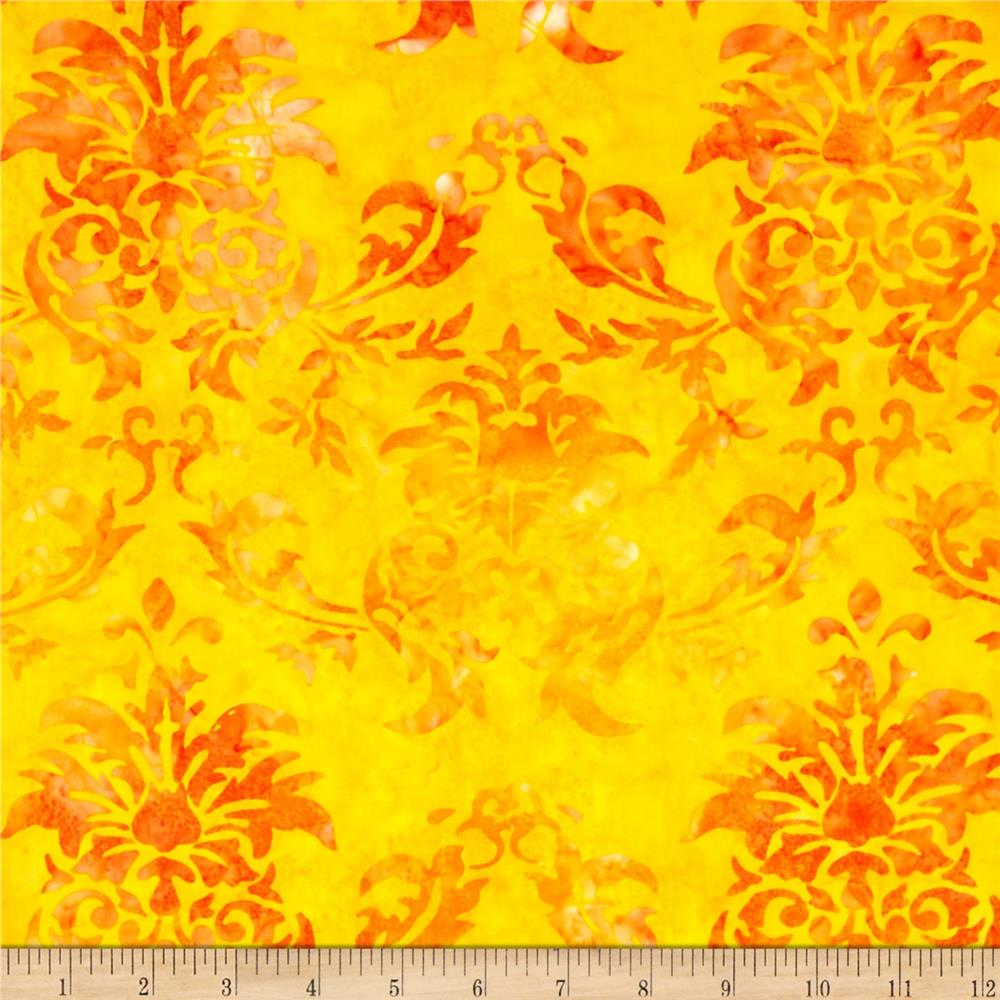 Michael Miller Batiks Sunkist Dandy Damask Sunkist Orange