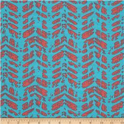 Designer Knit Abstract Aqua/Coral