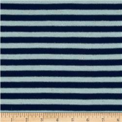 Yarn Dyed Tri Blend Hatchi Knit Stripes Navy/Pale Blue